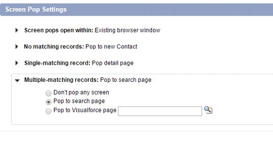 Screen pop settings